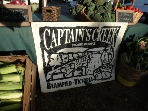 Captains Creek sign Ballarat Farmers market